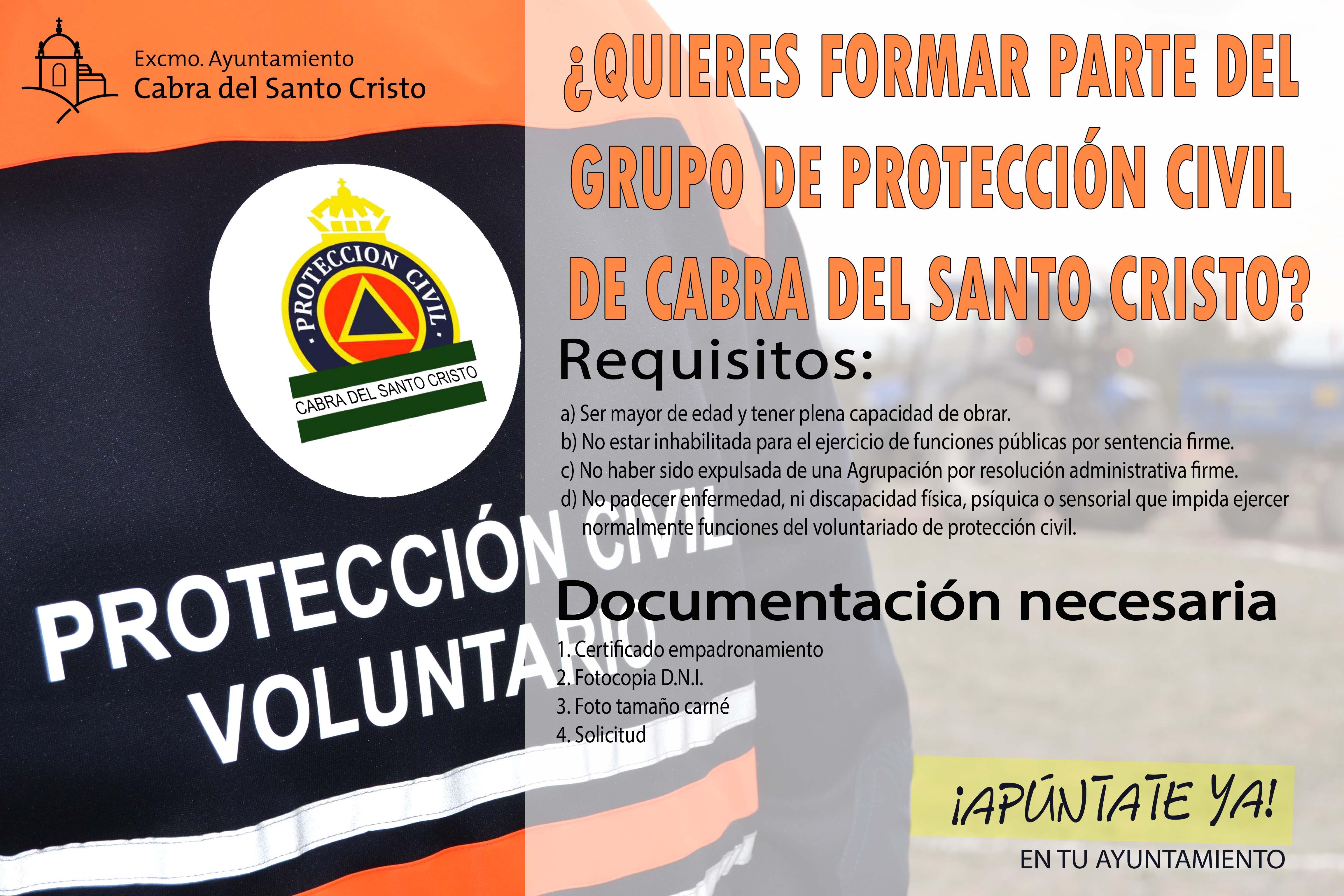 ¿QUIERES FORMAR PARTE DEL GRUPO DE PROTECCIÓN CIVIL DE CABRA DEL SANTO CRISTO?