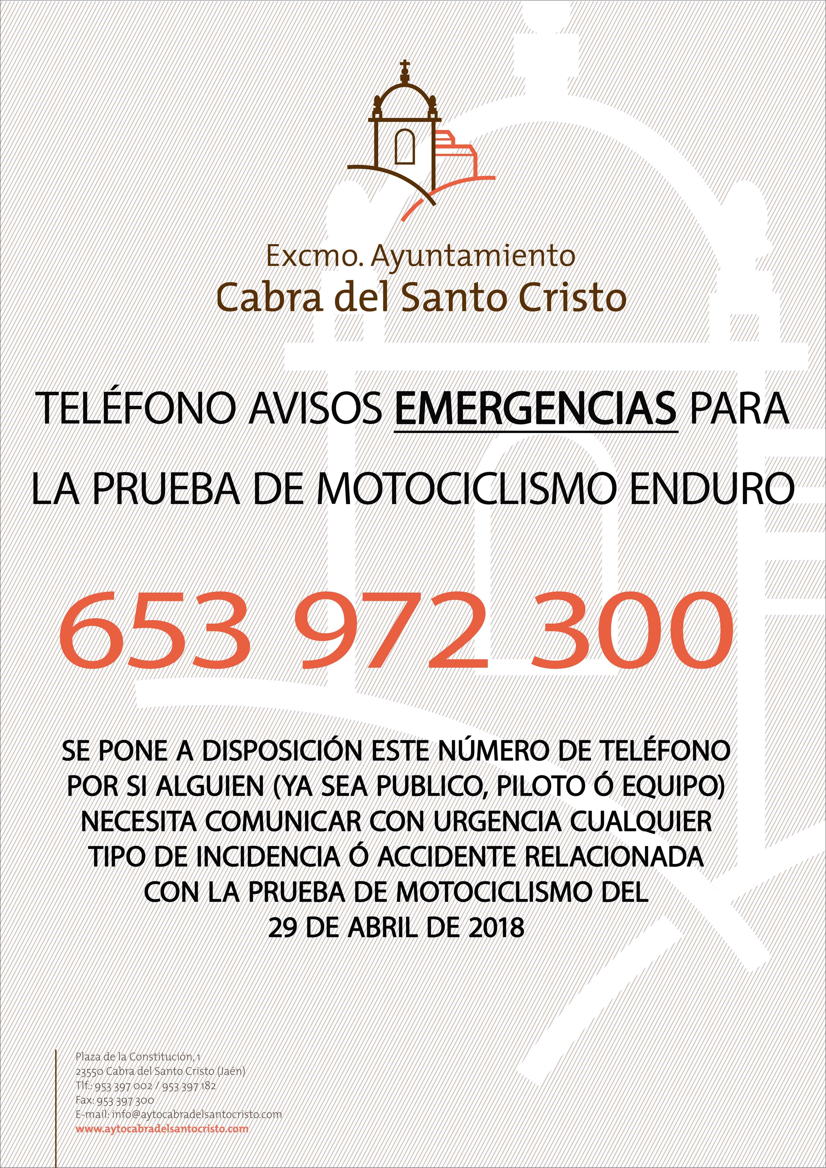 TELÉFONO EMERGENCIAS ENDURO 29 ABRIL 2018