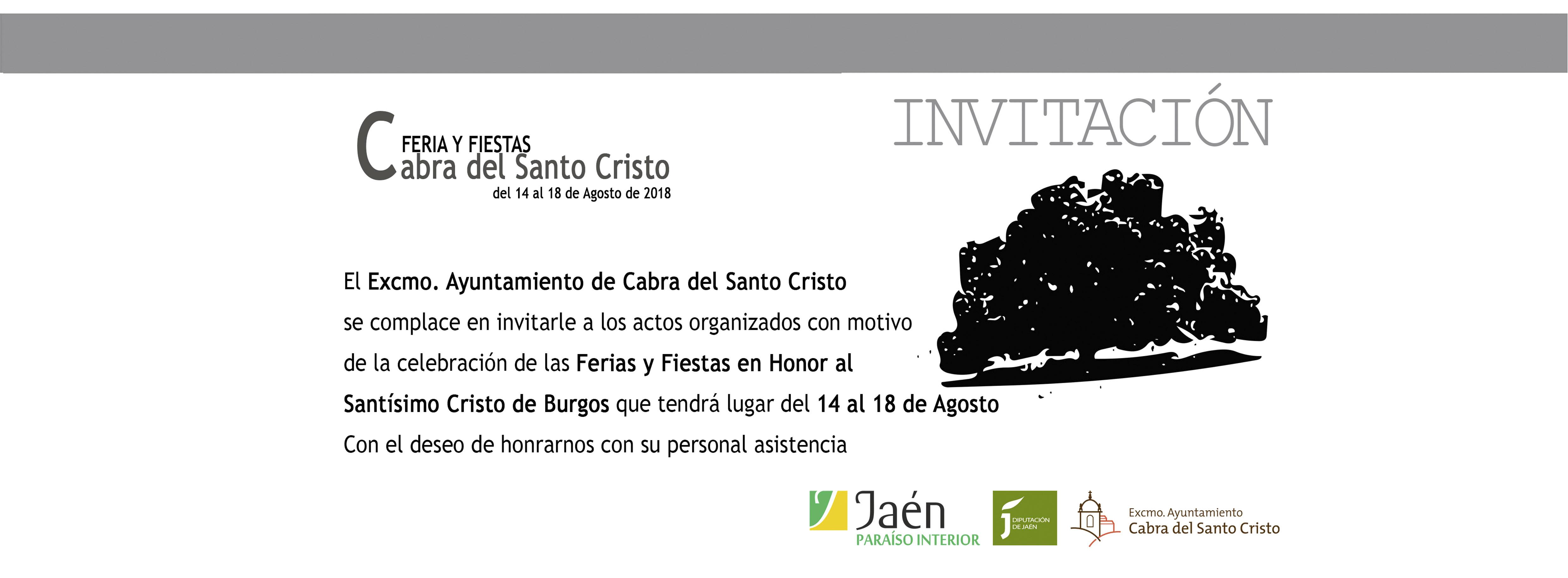 Invitación Feria y Fiestas en honor al Santísimo Cristo de Burgos 2018