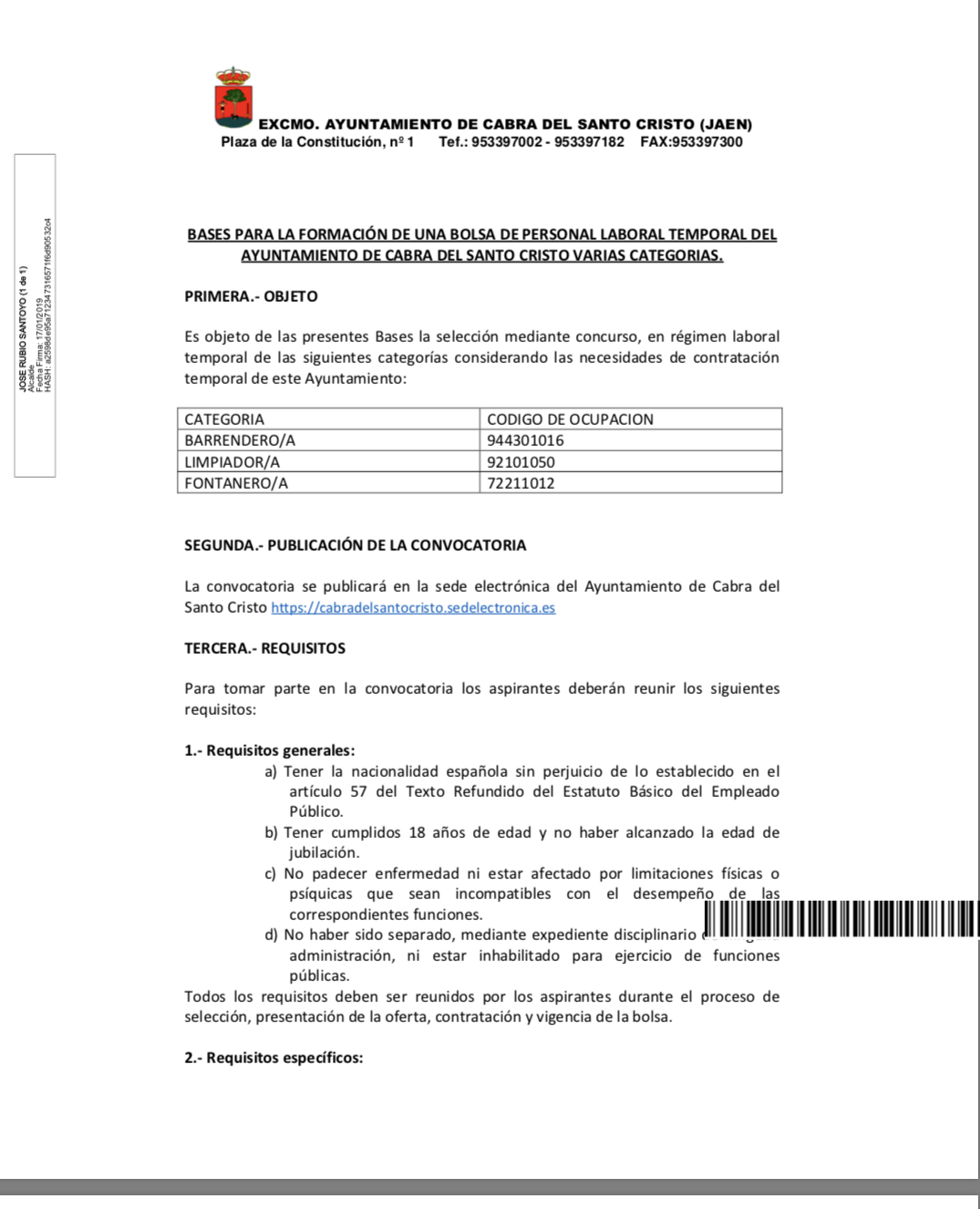 BASES PARA LA FORMACIÓN DE UNA BOLSA DE PERSONAL LABORAL TEMPORAL