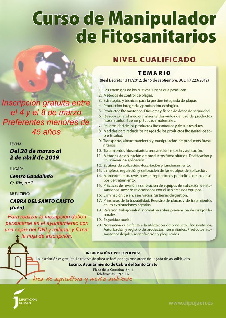 Curso gratuito de manipulador fitosanitarios