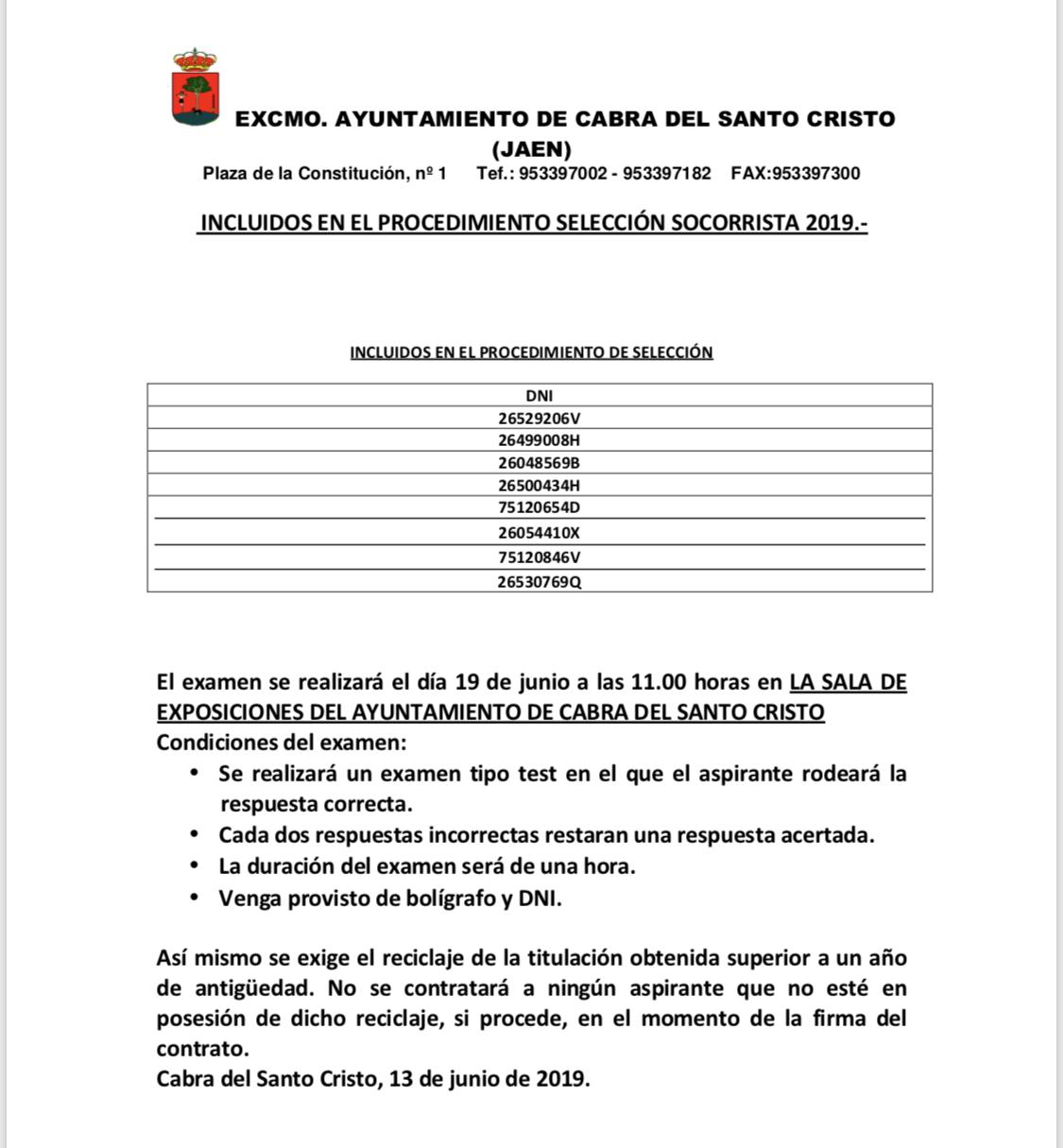 INCLUIDOS EN EL PROCEDIMIENTO SELECCIÓN SOCORRISTA 2019