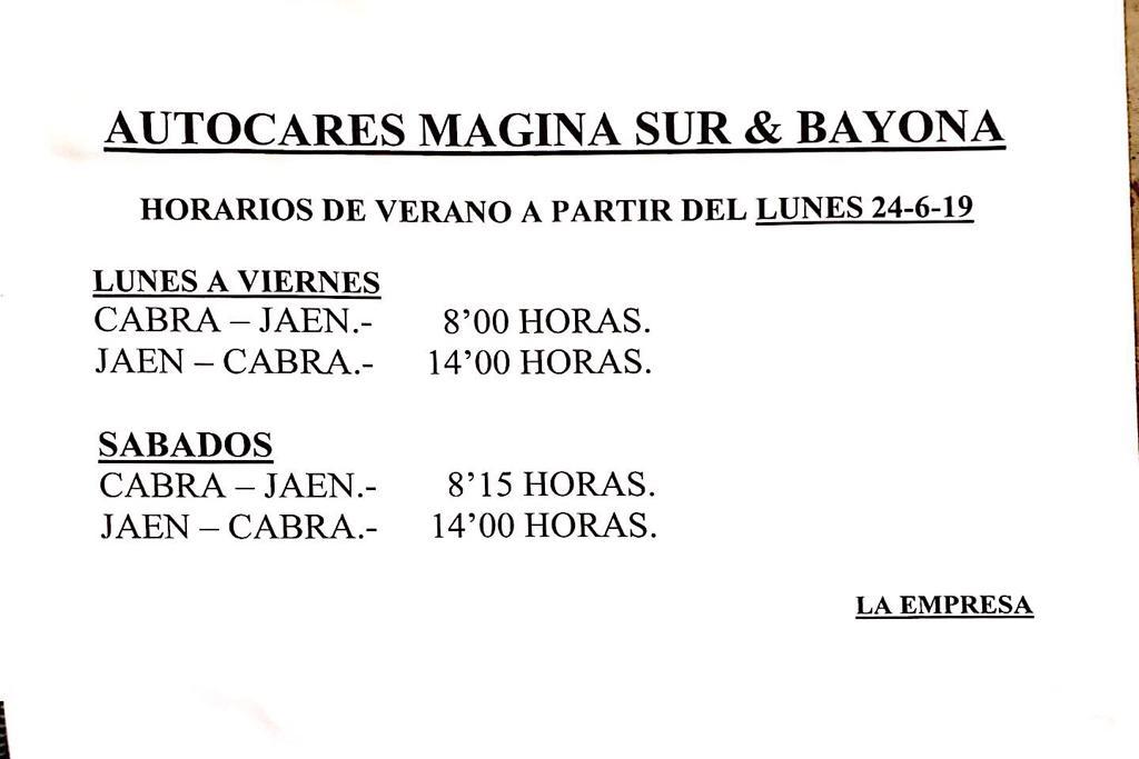 HORARIOS MÁGINA SUR Y BAYONA