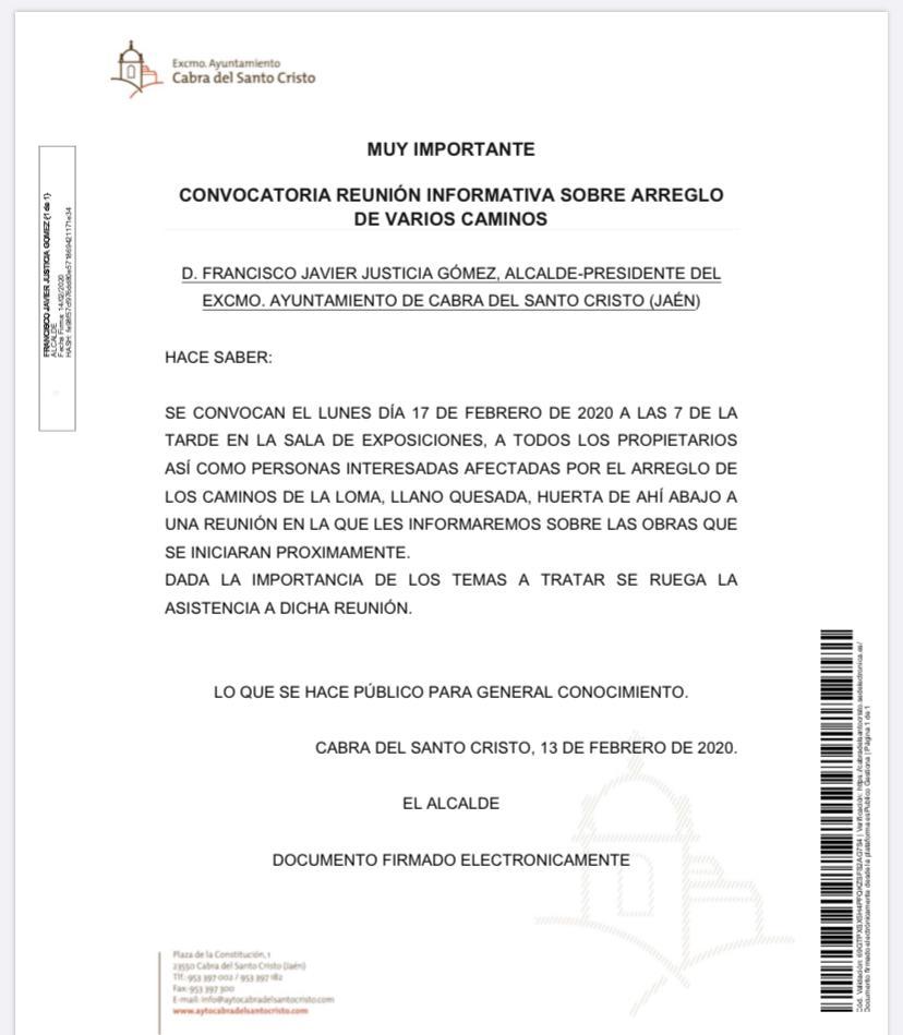 REUNIÓN INFORMATIVA PARA ARREGLO DE CAMINOS